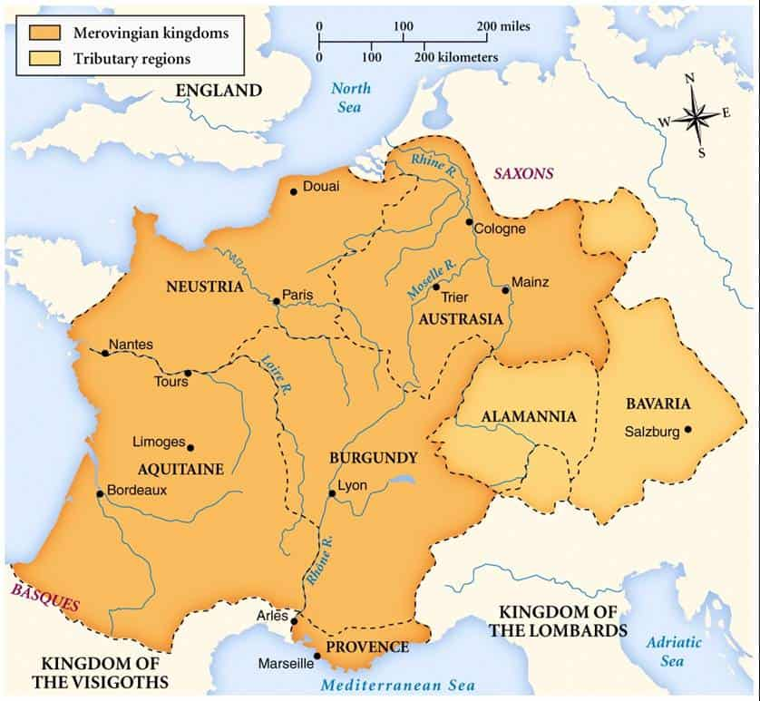 The Merovingian kingdoms at their height