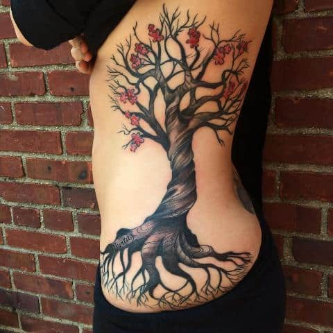 Realistic tree tattoo on the side