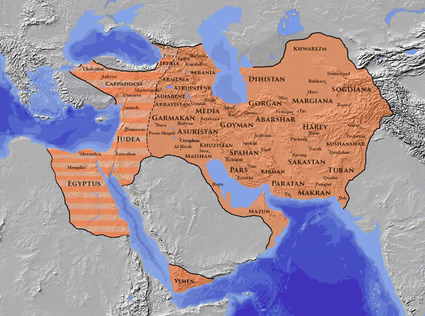 The Sasanian Empire at its greatest extent c. 620, under Khosrow II
