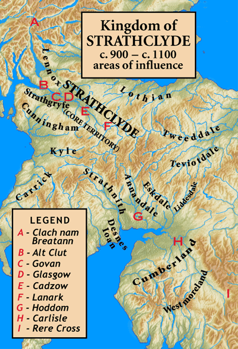 The core of Strathclyde is the strath of the River Clyde. The major sites associated with the kingdom are shown, as is the marker Clach nam Breatann