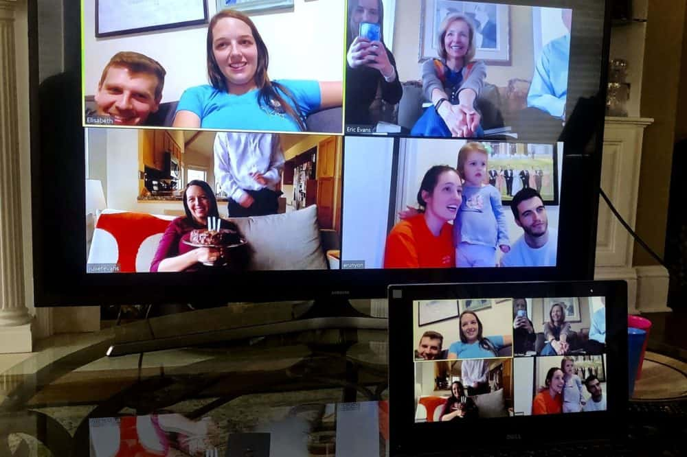 The family gathers over Zoom for a family video call on Sunday.
